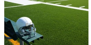 American Football helmet on bench