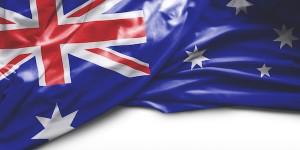 Australian flag on white background