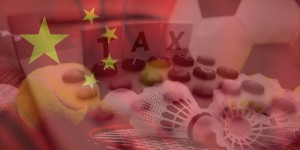 China Flag with sports and tax background