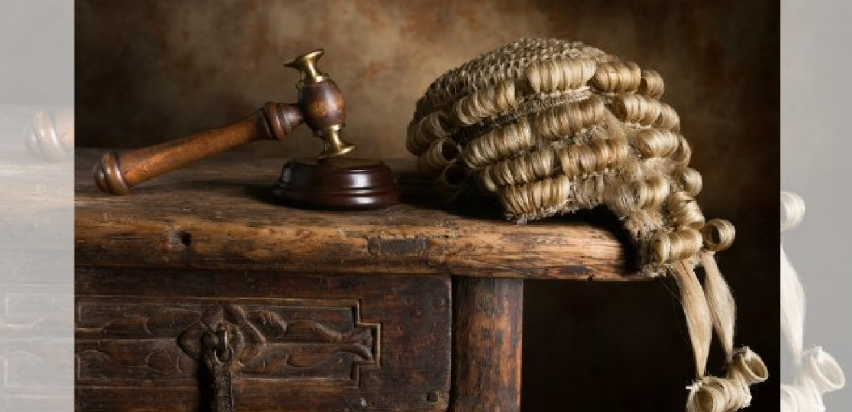 Court Wig and Gavel on Bench
