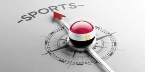 Egyptian flag on compass pointing towards sports