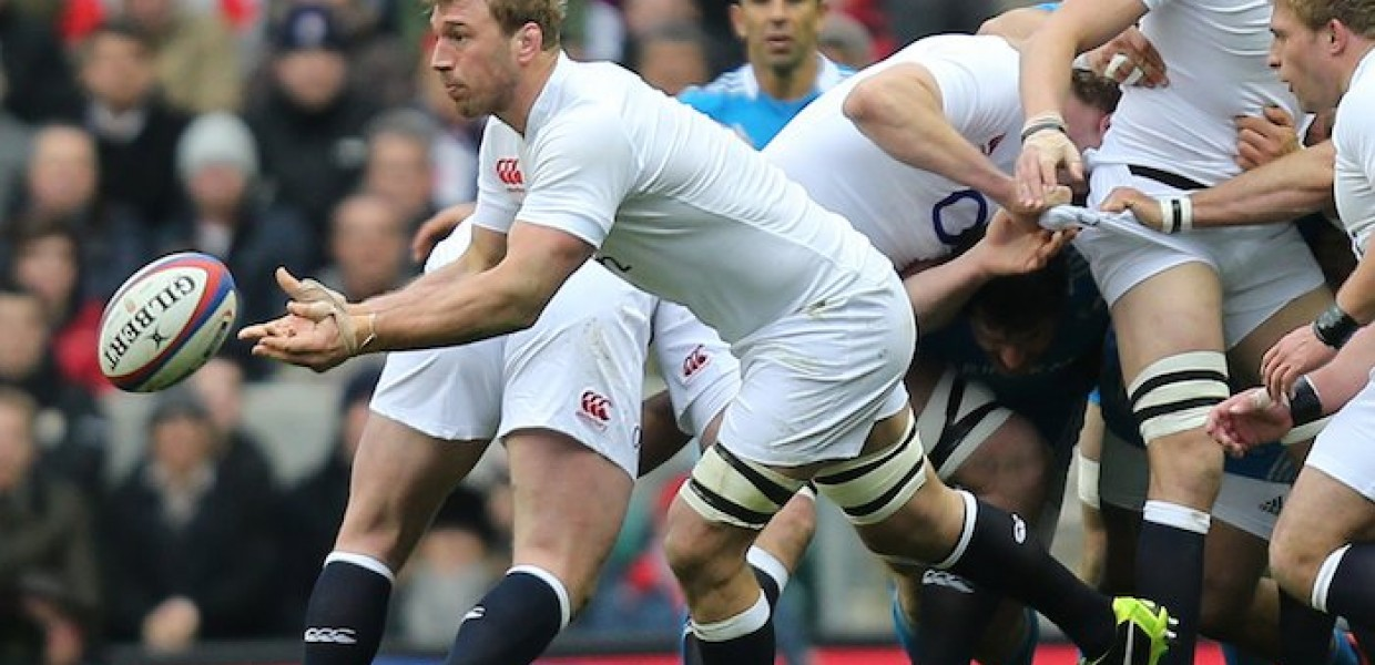 England Rugby Player Receives Ball