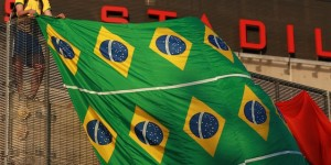 Fan with huge Brazilian Flag