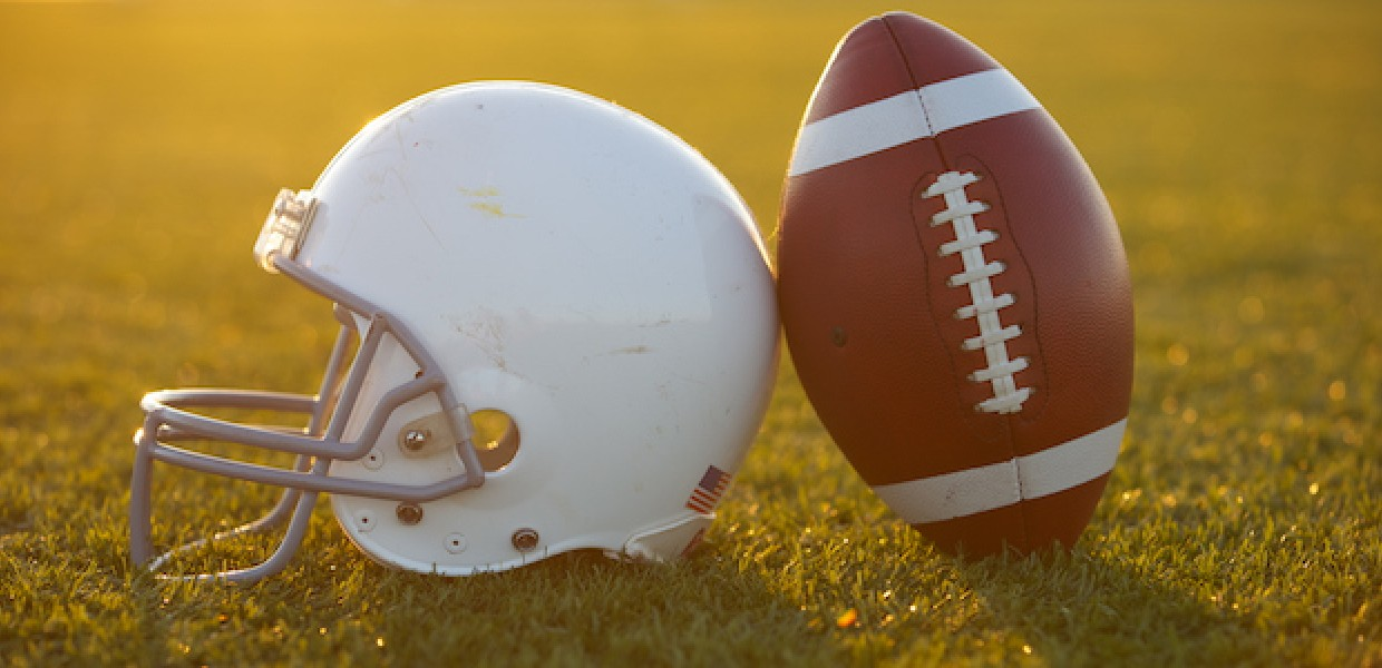American Football Helmet and football