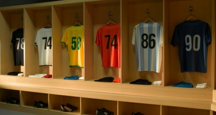 Football kit hung on rack