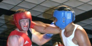 Boxers wearing head protection