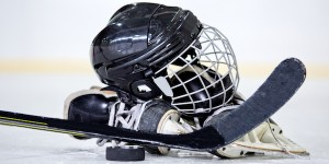 Ice hockey equipment on rink