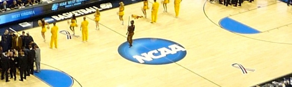 NCAA logo on basketball court