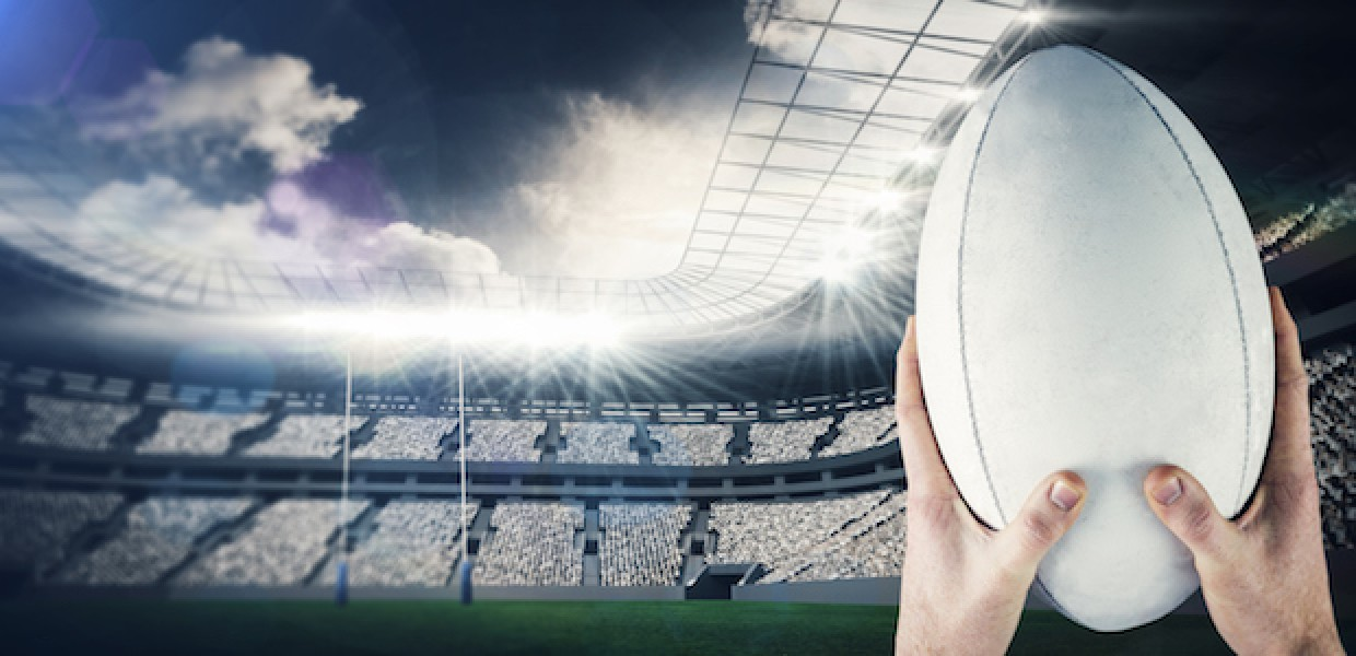Rugby Ball in Stadium