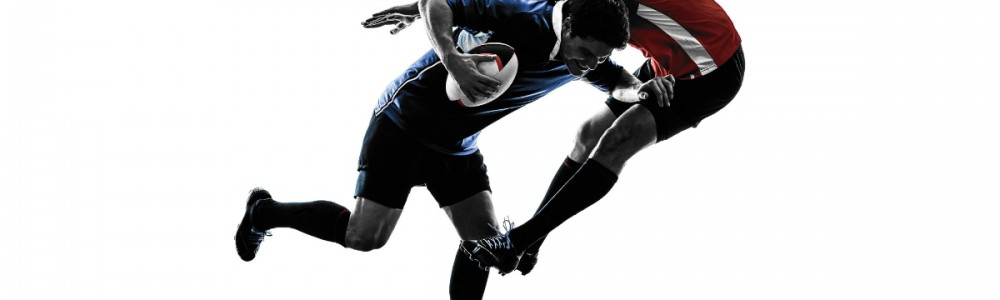 Rugby Tackle on white background