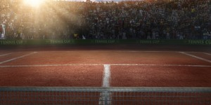 Tennis court and crowd