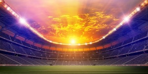 Sunrise over a stadium