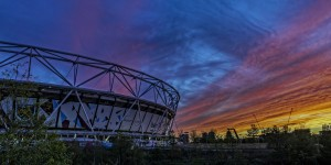 Westham Stadium in sunset