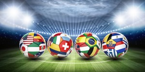 World flags on footballs