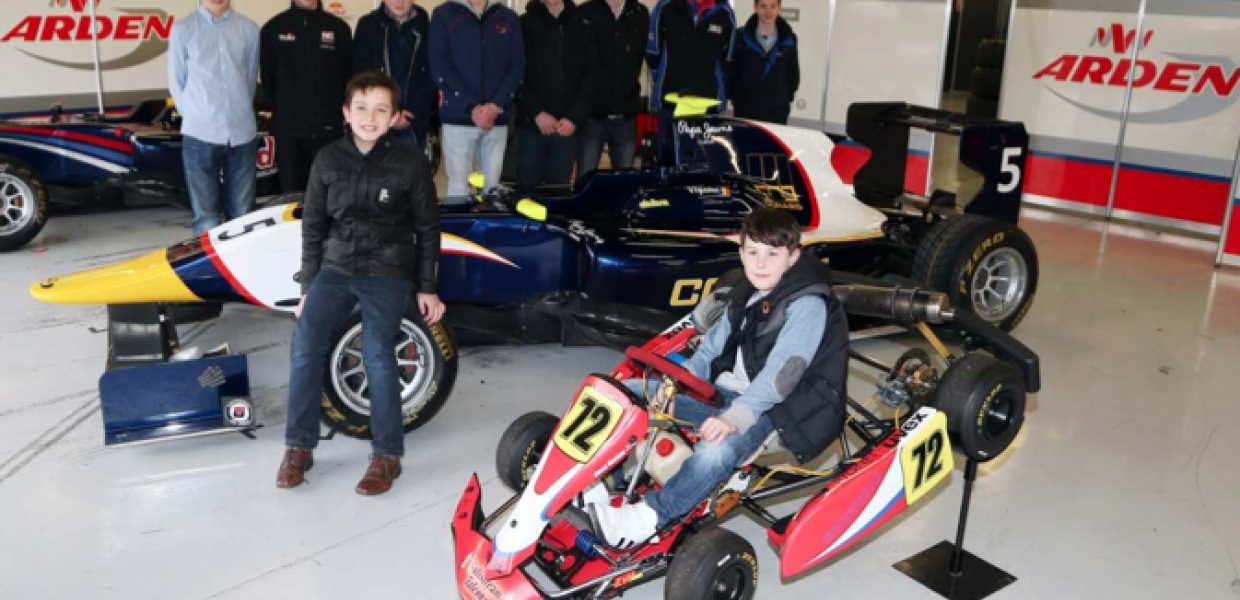 The Young Racing Drivers with MW Arden Robert Visoiu's GP3 car and Owen Marlow's Cadet Kart